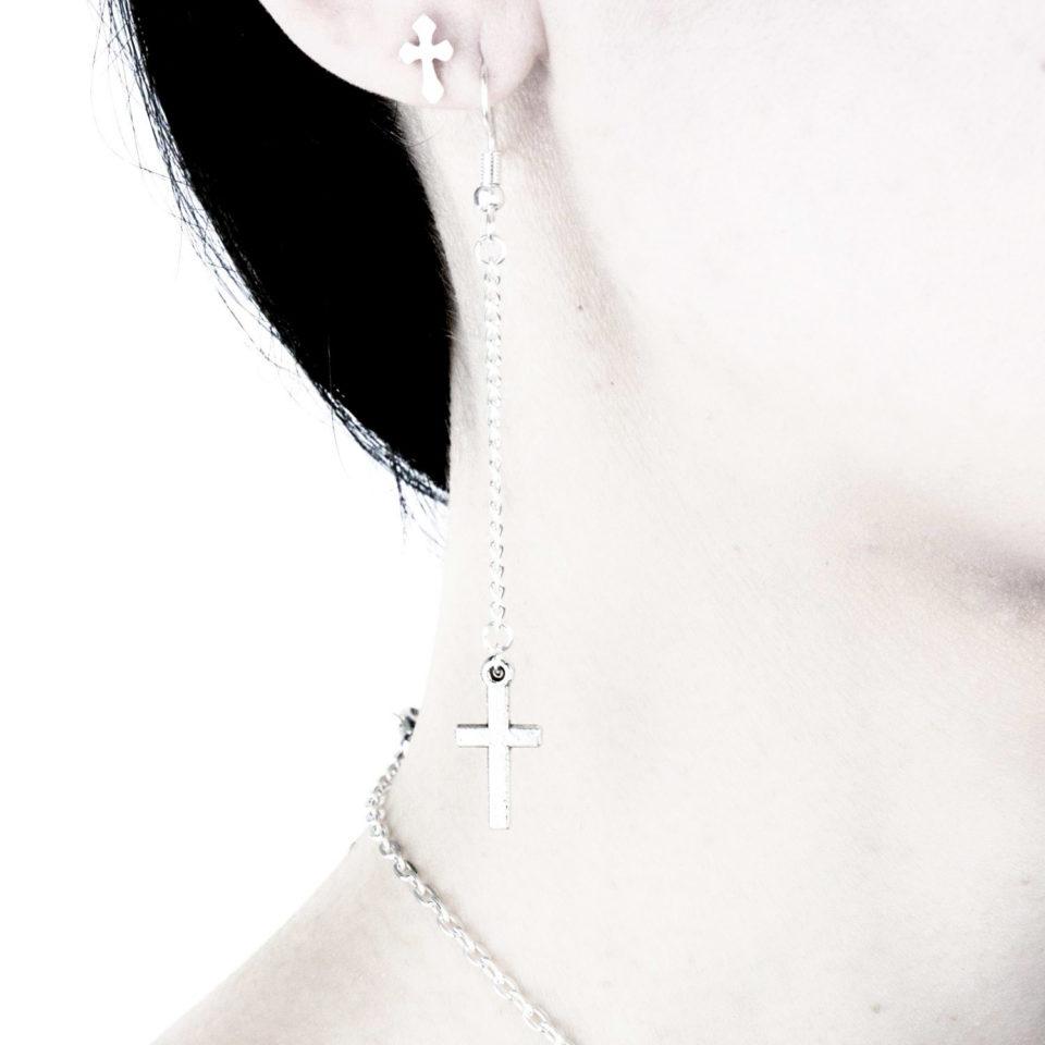 Gothic Kreuz Ohrringe Ohrhänger Preacher - Gothgirl