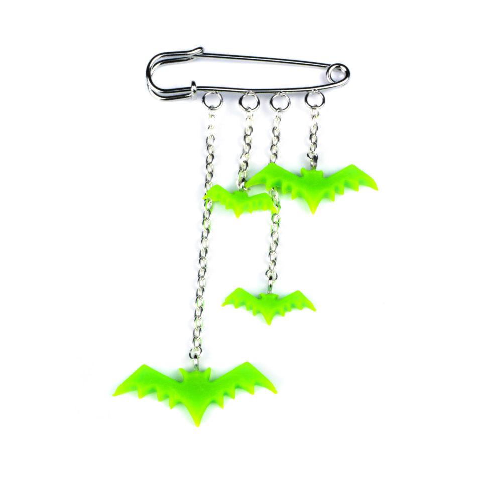 Gothic Fledermaus Anhänger Gefleder grün - Produkbild