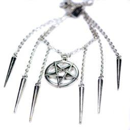 Gothic Spike Pentagramm Halskette More Evil - Zoom