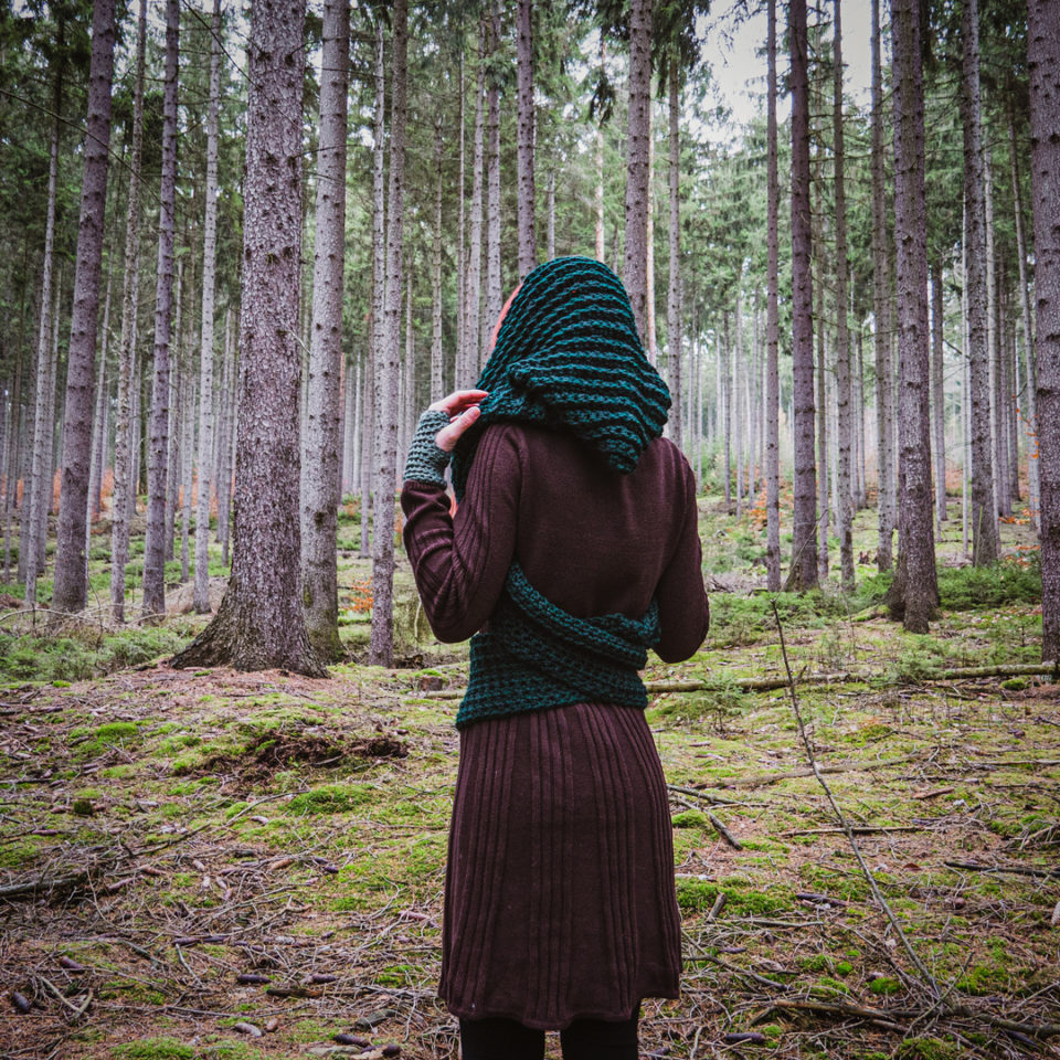 Pagan Kapuzenschal Heks - dunkles grün
