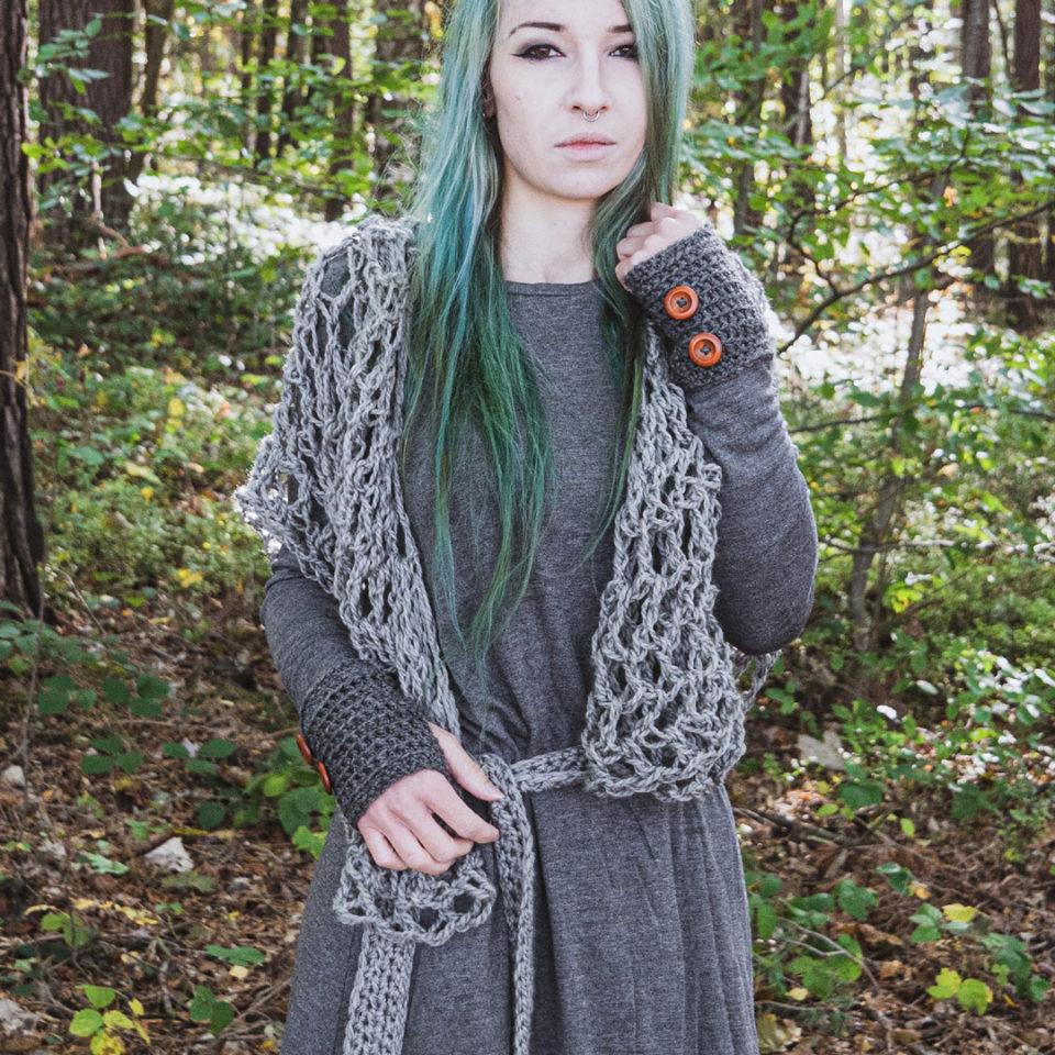 Pagan Woll-Schal Revebjelle - leichtes grau