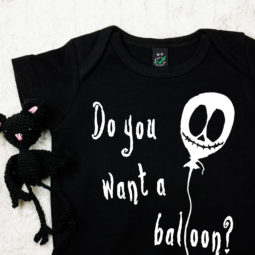 Gothic baby bodysuit - do you want a balloon?